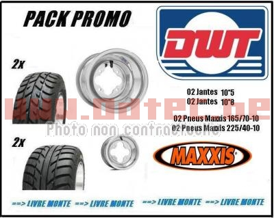 Pack ALU DWT A5 Spearz 165/70-10 + 225/40-10